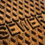 Close-up of sewer grate.